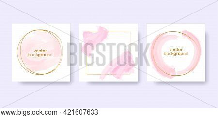 Rose Gold Background For The Banner. Set Of Round And Square Gold Frames With Pink Pastel Brush Elem