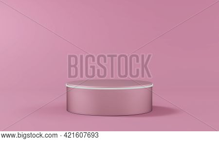 Single Pedestal In The Shape Of A Cylinder With A Light Rim On A Blank Background In Rose Pastel Col