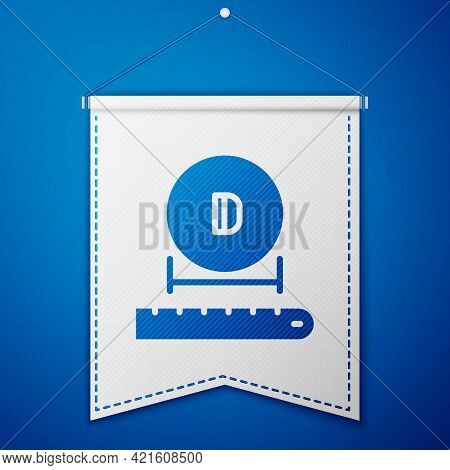 Blue Diameter Icon Isolated On Blue Background. White Pennant Template. Vector
