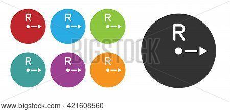 Black Radius Icon Isolated On White Background. Set Icons Colorful. Vector