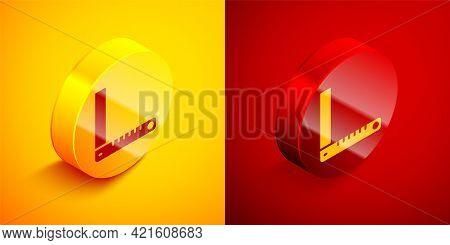 Isometric Corner Ruler Icon Isolated On Orange And Red Background. Setsquare, Angle Ruler, Carpentry