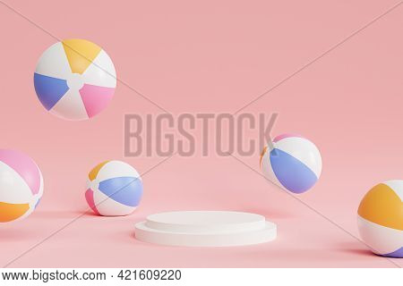 Podium Or Pedestal For Products Or Advertising With Inflatable Beach Balls On Pink Background, Summe
