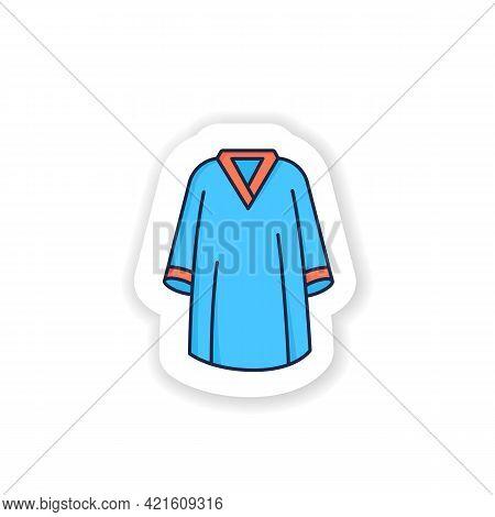 Graduation Dress Sticker Icon. Special Graduate Mantle. Holiday Costume. Graduate Uniform Badge For