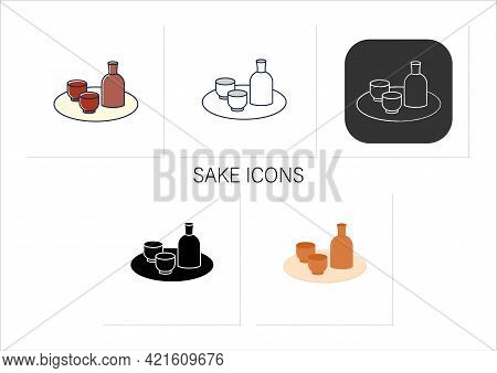 Sake Icons Set. Traditional Japanese Alcoholic Beverage. Bottle With Cups On Tray. Traditional Food