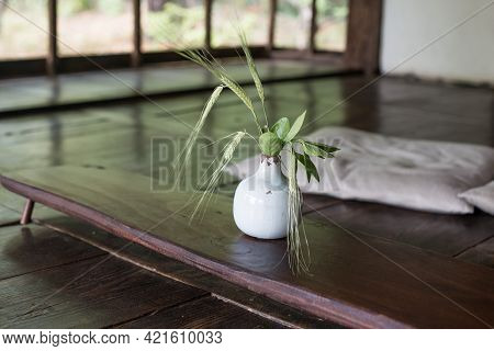 Wooden Floor With A Flower Vase On It And Open Doors Korean Traditional House Rooms.