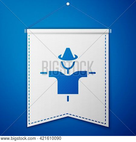 Blue Scarecrow Icon Isolated On Blue Background. White Pennant Template. Vector
