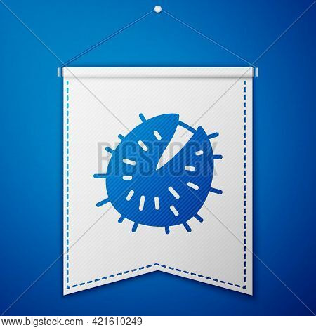 Blue Chestnut Icon Isolated On Blue Background. Barbed And Strong Chestnut. White Pennant Template.