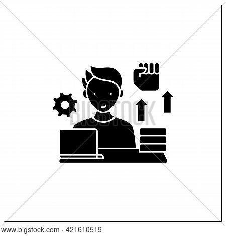Workaholic Glyph Icon. Motivational Causes. Man Works Sitting Near Laptop. Hard Working. Overworking