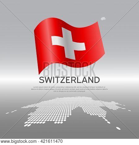 Switzerland Flag, Mosaic Map On Light Background. Vector Banner Design, Switzerland National Poster.