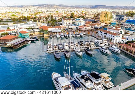 Seafront Cafes And Restaurants In Limassol Marina, Aerial View