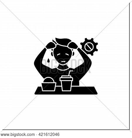 Workaholic Glyph Icon. Emotional Causes. Stressful Situation. Emotional Burnout Due To Work. Overwor