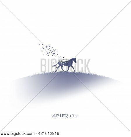 Horse And Birds. Endangered Animal. Death, Afterlife. Ink Silhouette