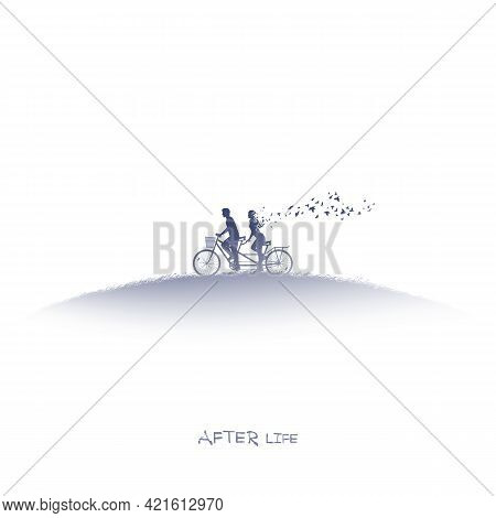 Lovers On Bycicle. Death And Afterlife. Isolated Ink Silhouette