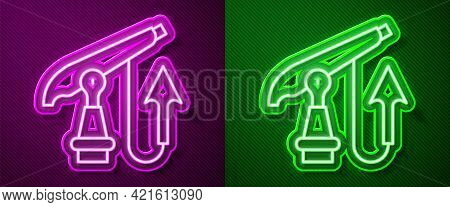 Glowing Neon Line Fishing Harpoon Icon Isolated On Purple And Green Background. Fishery Manufacturer