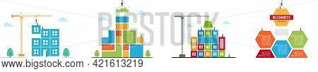 Tower Crane Made Of Colored Blocks Builds City. Set Color Concept Of Building Business.