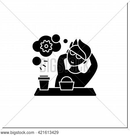 Workaholic Glyph Icon. Cognitive Causes. Man Relax, Think About Productivity. Work Love Concept.fill