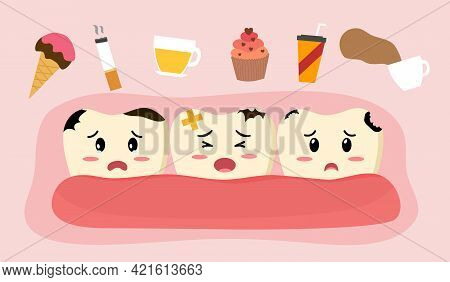 Sad Cavity Tooth Cartoon With Products That Damage Teeth In Flat Design Vector Illustration. Cute Ca