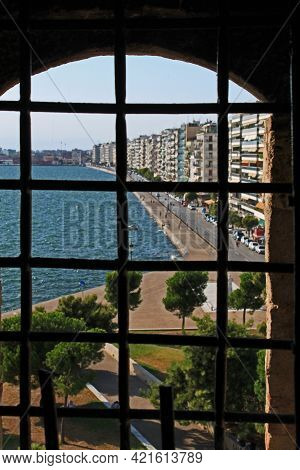 Thessaloniki / Greece - August 9, 2015: View From The White Tower In Thessaloniki To The City, Thess