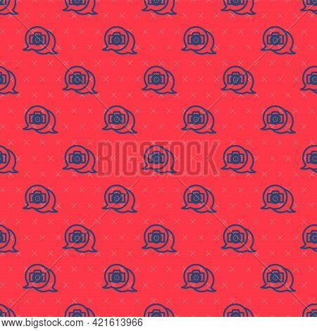 Blue Line Photo Camera Icon Isolated Seamless Pattern On Red Background. Foto Camera. Digital Photog