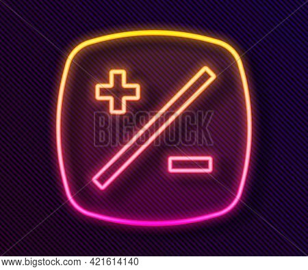 Glowing Neon Line Exposure Compensation Icon Isolated On Black Background. Vector