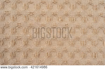 Grunge Beige Waffle Weave Fabric Cotton Background In Macro View, Top Image Of Weave Napkin, Close U