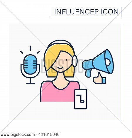Podcaster Influencer Color Icon. Woman Makes Audio Or Video Recordings. Share On Online Platform, Ap