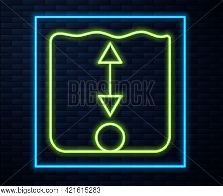 Glowing Neon Line Depth Measurement Icon Isolated On Brick Wall Background. Water Depth. Vector