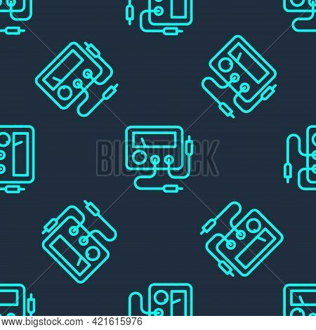 Green Line Ampere Meter, Multimeter, Voltmeter Icon Isolated Seamless Pattern On Blue Background. In