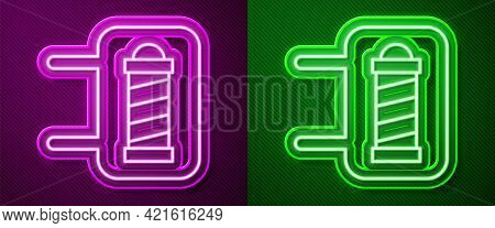 Glowing Neon Line Classic Barber Shop Pole Icon Isolated On Purple And Green Background. Barbershop