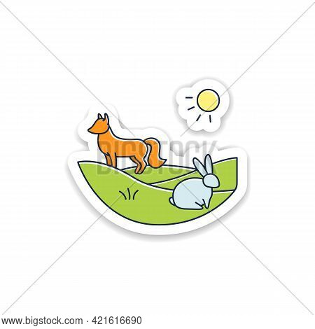Grasslands Sticker. Fox And Rabbit Live In Grasslands. Hunting Badge For Designs. Generally Located