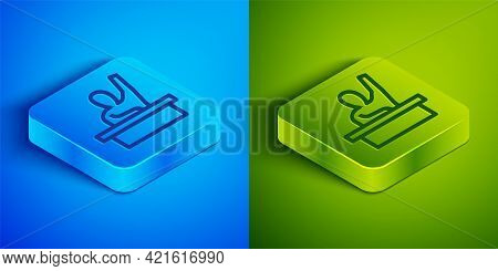 Isometric Line Active Male Kid Raising Hand Answering To Teacher Question Icon Isolated On Blue And