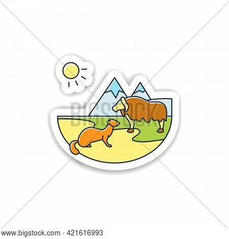 Tundra Sticker Icon. Cold And Treeless Plain. Hard For Plants And Animals Alike To Survive. Mountain