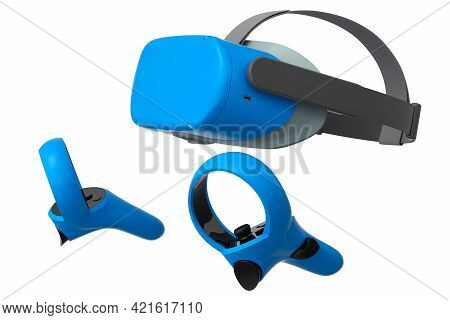Virtual Reality Glasses And Controllers For Online And Cloud Gaming On White Background. 3d Renderin