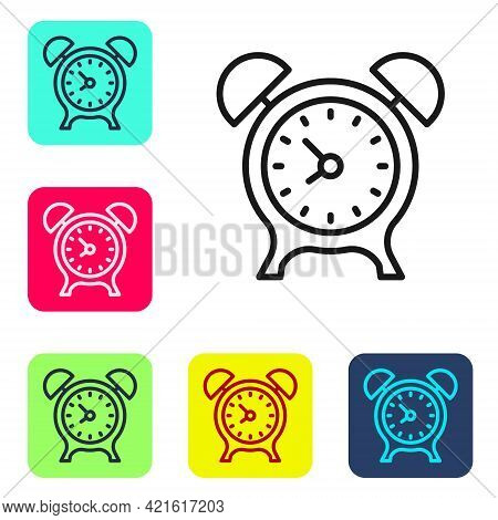 Black Line Alarm Clock Icon Isolated On White Background. Wake Up, Get Up Concept. Time Sign. Set Ic