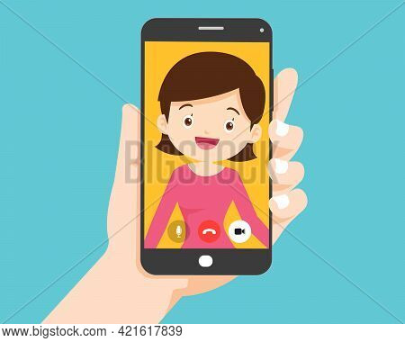 Hand Holding Smartphone With Smart Woman On Screen.video Call With Young Woman