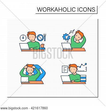 Workaholic Color Icons Set. Workaholism Prevention, Consequences. Depersonalization, Counterproducti