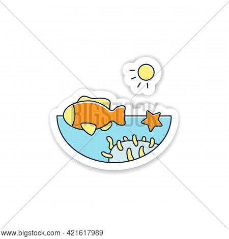 Coral Reef Sticker. Underwater Ecosystem Characterized By Reef-building Corals Badge For Designs. Li