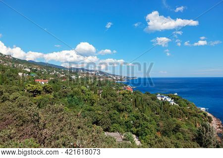 Green Coat Of Crimea , View Of Mountains And Black Sea . South Part Of Crimea Peninsula . Scenery Of