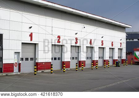 Ostrava, Czech Republic - May 12, 2021: The Transportation Depot  Of Hruska Groceries Chain With Doo