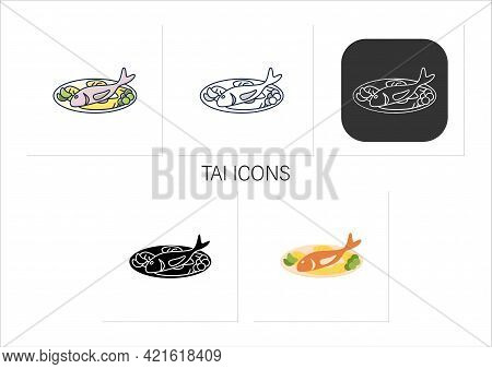 Tai Icons Set. Traditional Dish Popular In May. Sweet Waffle Fish On Plate. Spring Japanese Food.col
