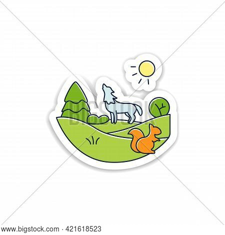 Temperate Forest Sticker.forest Found Between Tropical, Boreal Regions, Located In Temperate Zone Ba