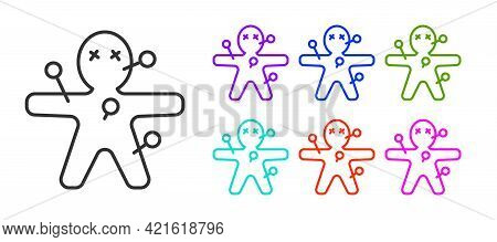 Black Line Voodoo Doll Icon Isolated On White Background. Happy Halloween Party. Set Icons Colorful.