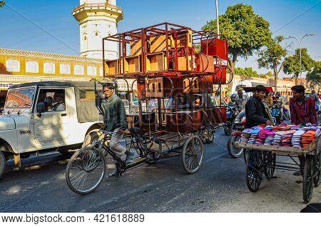 Jaipur, India - Jan 05, 2020: Bike Transport In The Streets Near Amber Fort In Jaipur, India.