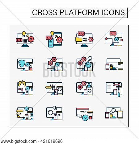 Cross Platform Color Icons Set. Programming Environment. Platform For Creating New Operating Systems