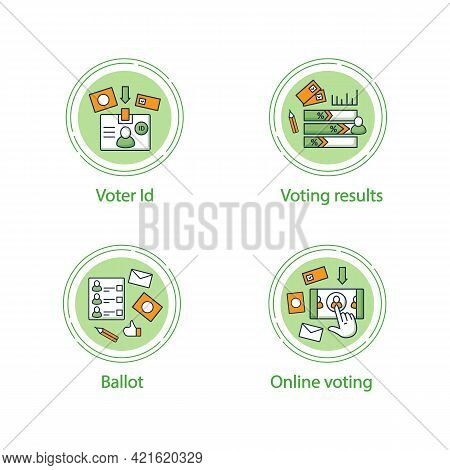 Election Concept Line Icons Set.voter Id, Voting Results, Ballot, Online Voting. Choice, Vote Concep