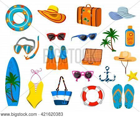 A Set Of Things For Vacation, Vacation At The Sea, Beach Things. Vector Isolated On A White Backgrou