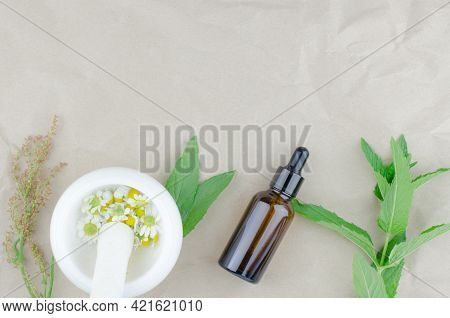 Herbs, Mortar With Chamomile And Bottles On A Beige Background With Place For Text. Flat Lay, Top Vi