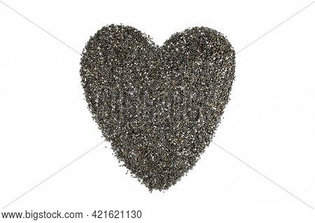 Heart Made From Chia Seeds On A White Background. Chia Seeds On White Background