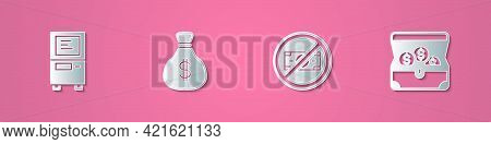Set Paper Cut Atm, Money Bag, No Money And Treasure Chest Icon. Paper Art Style. Vector