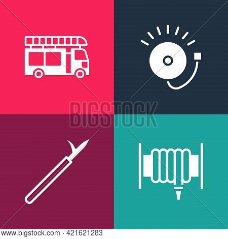 Set Pop Art Fire Hose Reel, Metal Pike Pole, Ringing Alarm Bell And Truck Icon. Vector